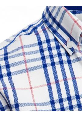 Pánska kockovaná košeľa s krátkym rukávom v bielej farbe
