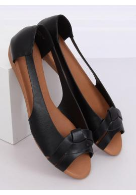 Módne dámske balerínky čiernej farby s výrezmi
