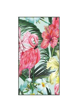 Obdĺžnikový plážový ručník s farebným tropickým motívom
