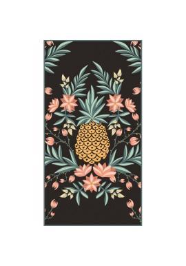 Čierny obdĺžnikový ručník na pláž s motívom ananásu