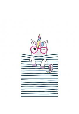 Plážový ručník bielej farby s motívom jednorožca