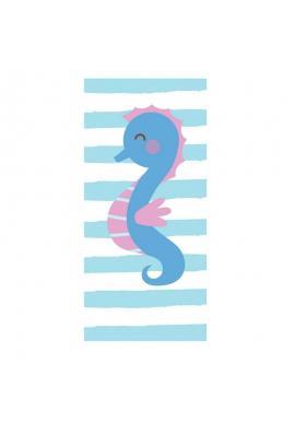 Modro-biely plážový ručník s motívom morského koníka