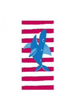 Plážový ručník červeno-bielej farby s motívom žraloka