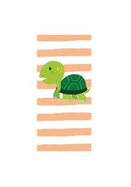 Oranžovo-biely plážový ručník s motívom korytnačky