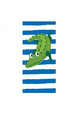 Plážový ručník modro-bielej farby s motívom krokodýla