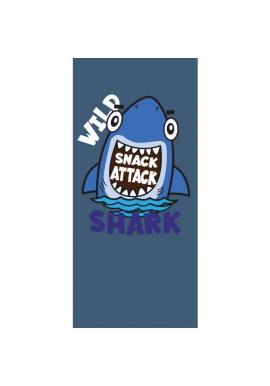Plážový ručník tmavomodrej farby s motívom žraloka