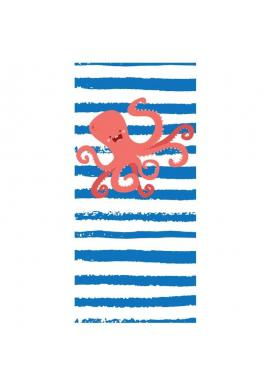 Plážový ručník modro-bielej farby s motívom chobotnice