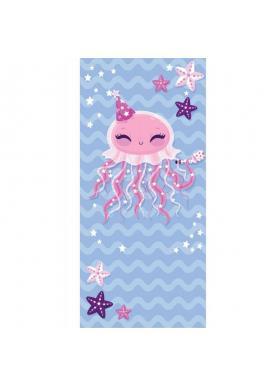 Modrý plážový ručník s motívom medúzy