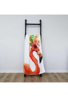 Biely plážový ručník s motívom plameniaka