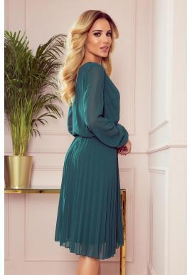 Dámske plisované šaty s dlhým rukávom v zelenej farbe