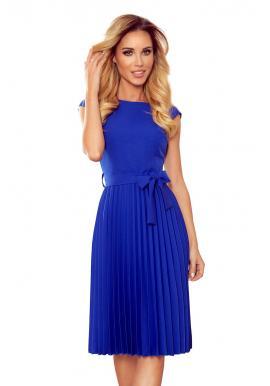 Modré plisované šaty s krátkym rukávom pre dámy