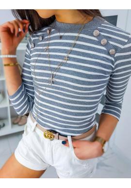 Pásikavé dámske tričko sivej farby s ozdobnými gombíkmi