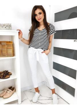 Dámske módne nohavice s mašľou v bielej farbe