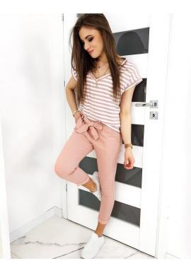 Módne dámske nohavice ružovej farby s mašľou