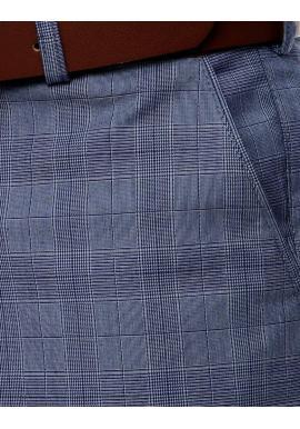 Pánske elegantné nohavice so vzorom v tmavomodrej farbe