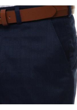 Tmavomodré elegantné nohavice so vzorom pre pánov