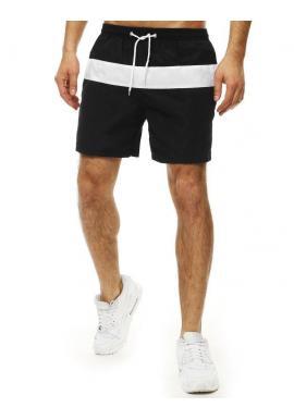 Pánske kúpacie šortky s kontrastným pásom v čiernej farbe
