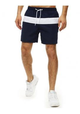 Tmavomodré kúpacie šortky s kontrastným pásom pre pánov