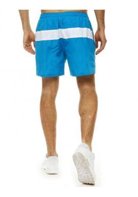 Kúpacie pánske šortky tyrkysovej farby s kontrastným pásom