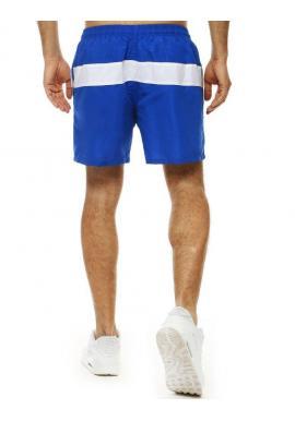Pánske kúpacie šortky s kontrastným pásom v modrej farbe