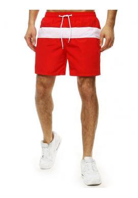 Červené kúpacie šortky s kontrastným pásom pre pánov
