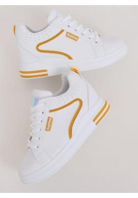 Bielo-žlté štýlové tenisky na skrytom opätku pre dámy