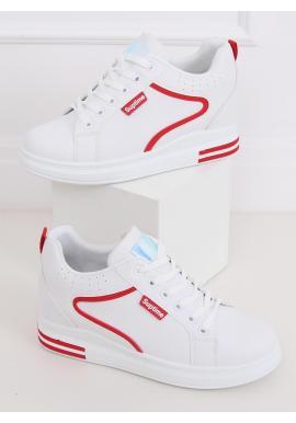 Bielo-červené štýlové tenisky na skrytom opätku pre dámy