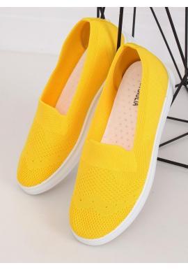 Žlté nazúvacie tenisky s pružnou podrážkou pre dámy