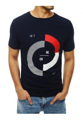 Módne pánske tričko tmavomodrej farby s potlačou