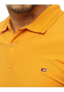 Pánska módna polokošeľa s dvomi gombíkmi v žltej farbe