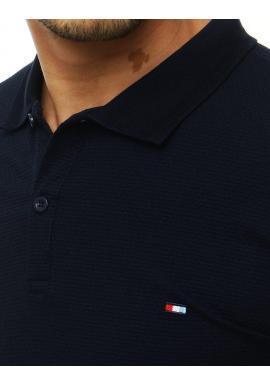 Pánska módna polokošeľa s dvomi gombíkmi v tmavomodrej farbe