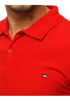 Červená módna polokošeľa s dvomi gombíkmi pre pánov