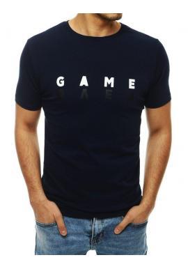Štýlové pánske tričko tmavomodrej farby s potlačou