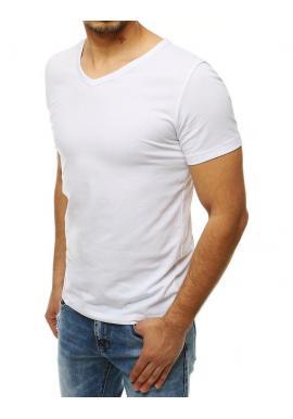 Biele hladké tričko s výstrihom v tvare V pre pánov