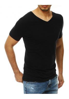 Pánske hladké tričko s výstrihom v tvare V v čiernej farbe
