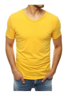 Hladké pánske tričko žltej farby s výstrihom v tvare V
