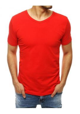 Červené hladké tričko s výstrihom v tvare V pre pánov