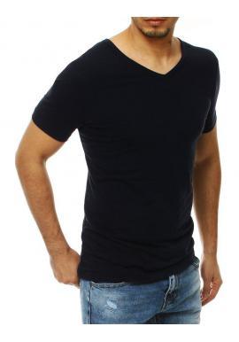 Pánske hladké tričko s výstrihom v tvare V v tmavomodrej farbe