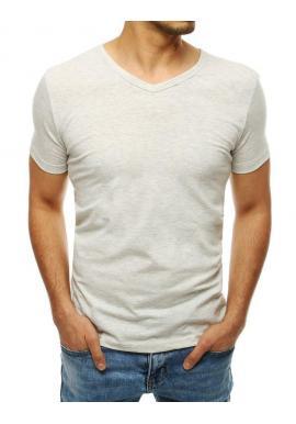 Hladké pánske tričko svetlosivej farby s výstrihom v tvare V