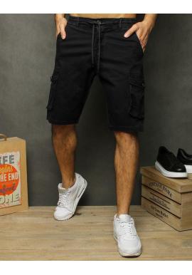 Pánske módne kraťasy s vreckami na stehnách v čiernej farbe
