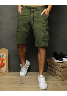 Zelené módne kraťasy s vreckami na stehnách pre pánov