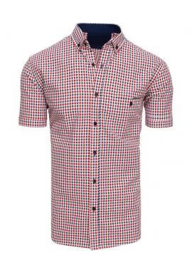 Modro-červená kockovaná košeľa s krátkym rukávom pre pánov