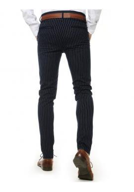 Pásikavé pánske nohavice tmavomodrej farby
