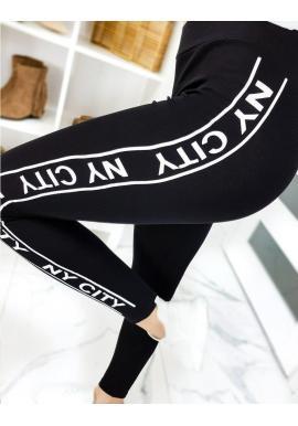Dámske módne legíny s pásom na boku v čiernej farbe