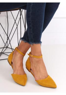 Žlté semišové balerínky s výrezmi pre dámy