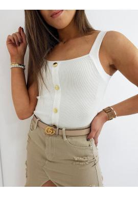 Rebrovaný dámsky top bielej farby s ozdobnými gombíkmi