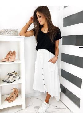Dámska voľná sukňa s viazaním v páse v bielej farbe