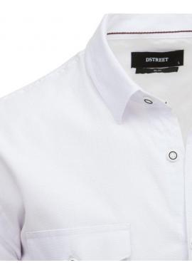 Pánska módna košeľa s klasickým golierom v bielej farbe