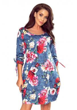 Oversize dámske šaty modrej farby s kvetinovým motívom