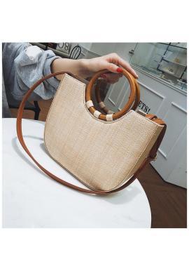 Dámska elegantná kabelka so zlatými doplnkami v hnedej farbe